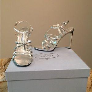 Silver Prada T-strap cage sandals